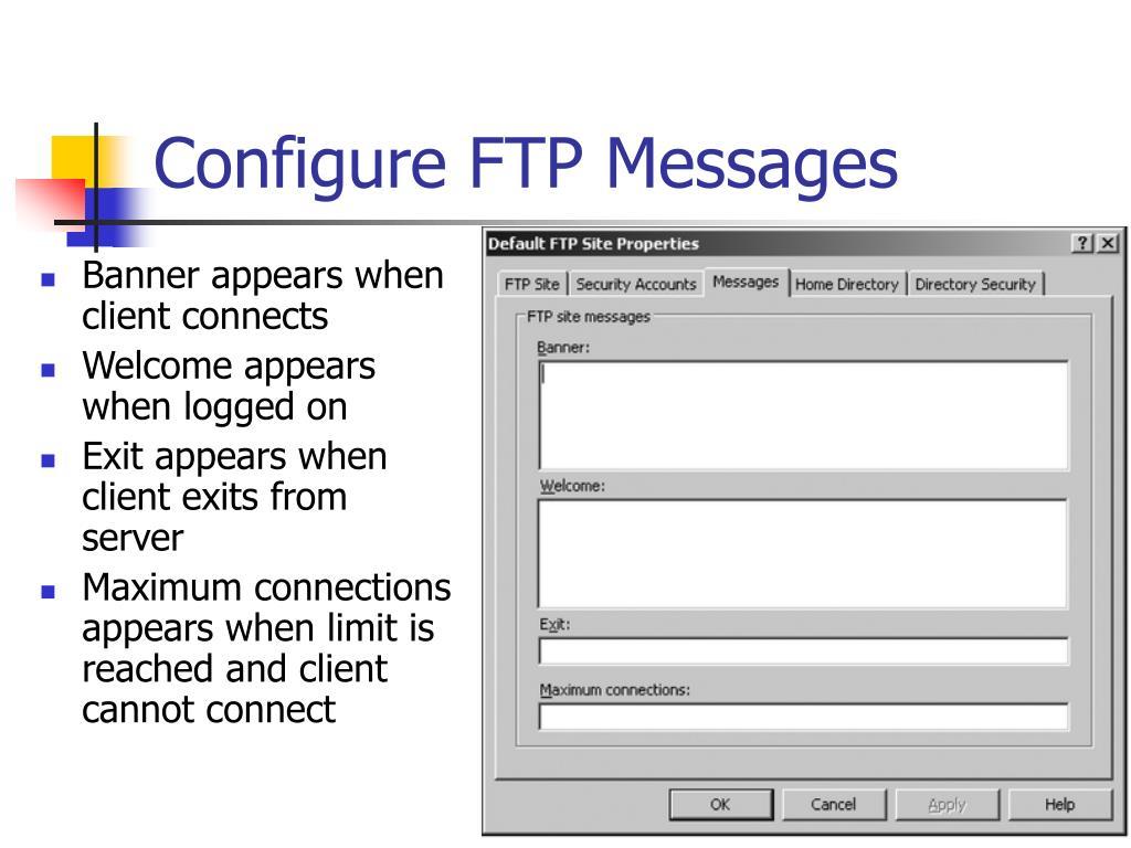 Configure FTP Messages