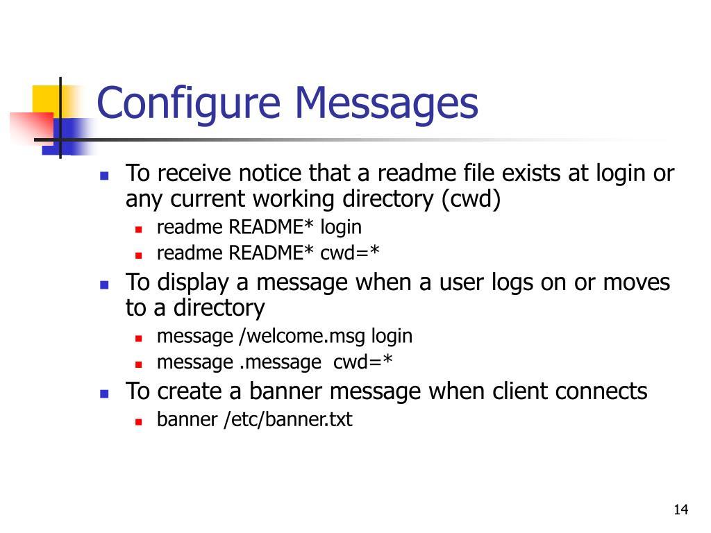 Configure Messages