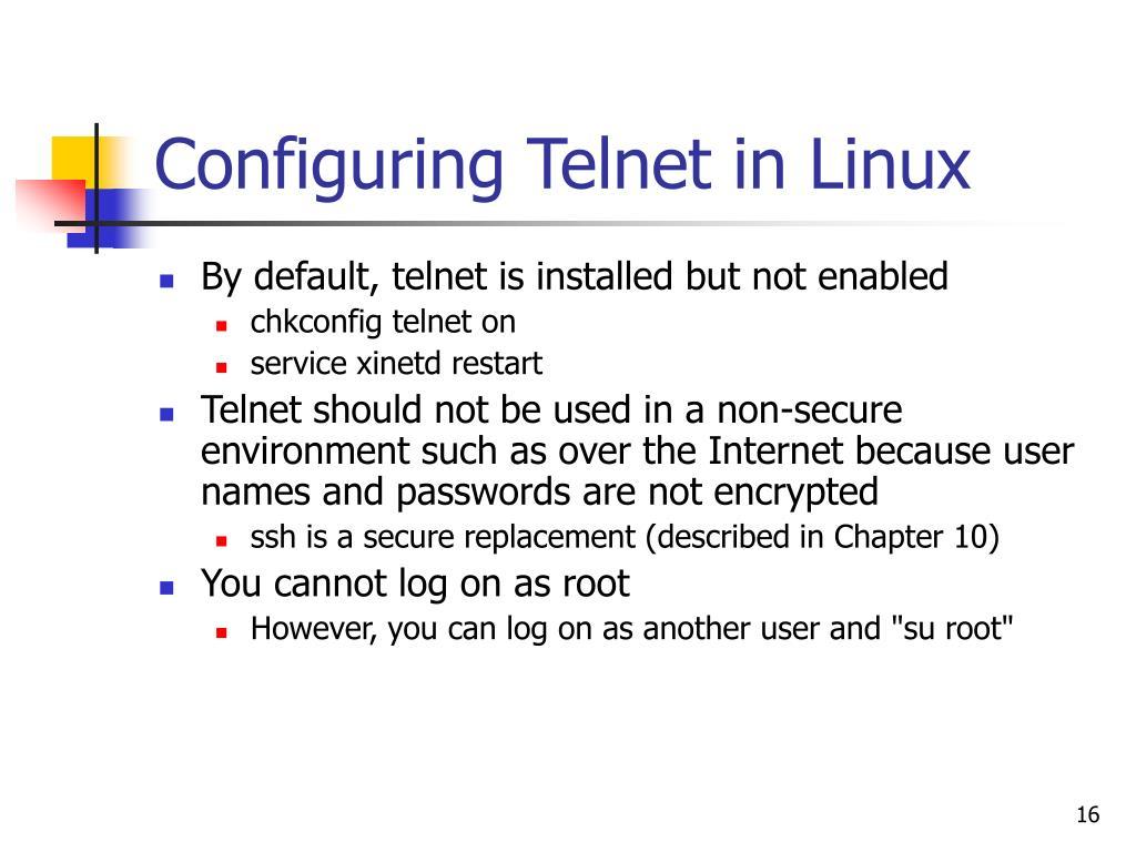 Configuring Telnet in Linux