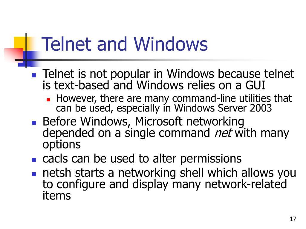 Telnet and Windows