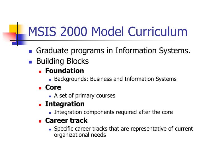 Msis 2000 model curriculum
