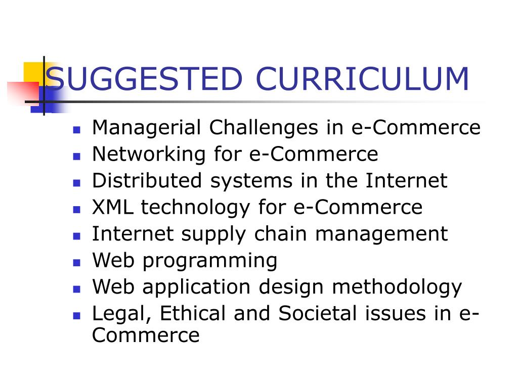 SUGGESTED CURRICULUM