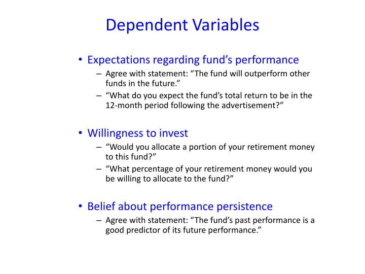 Expectations regarding fund's performance