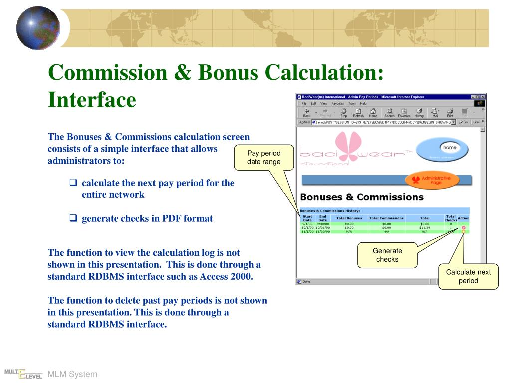 Commission & Bonus Calculation: Interface