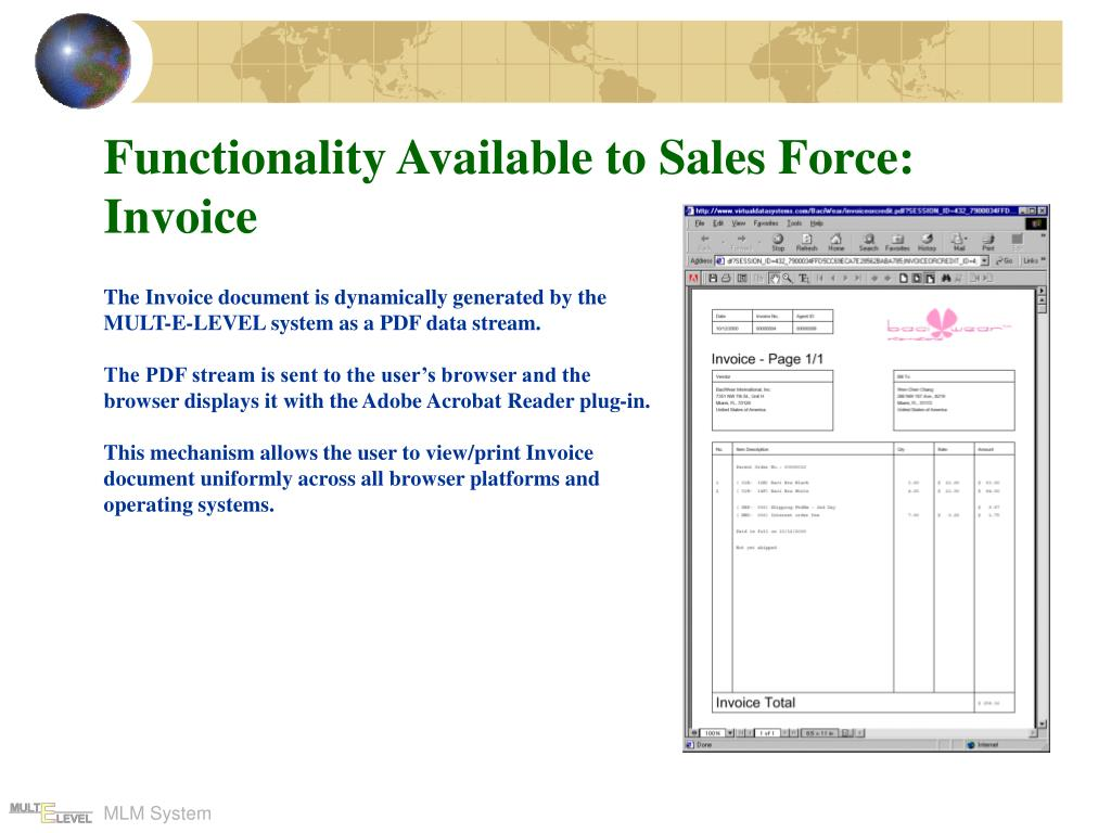 Functionality Available to Sales Force: Invoice