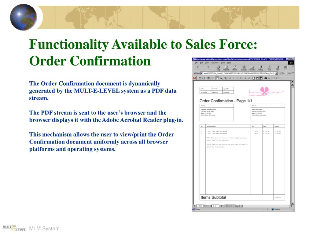 Functionality Available to Sales Force: Order Confirmation