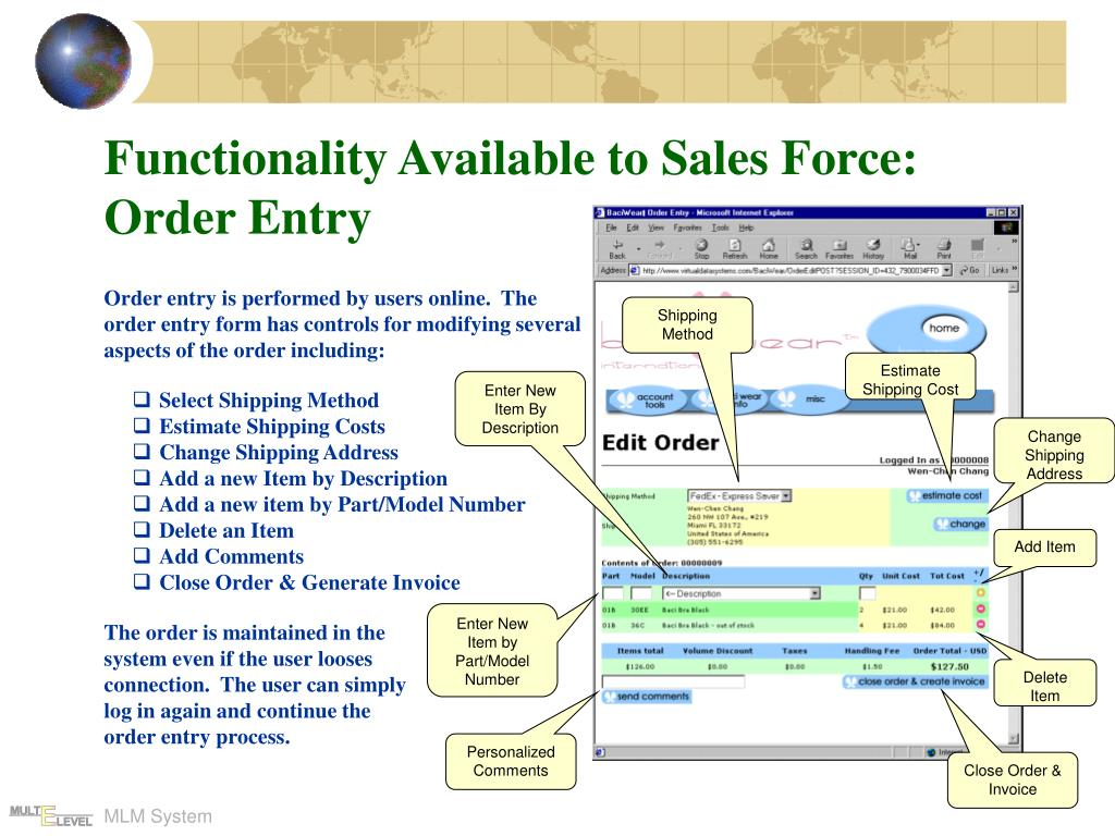 Functionality Available to Sales Force: Order Entry