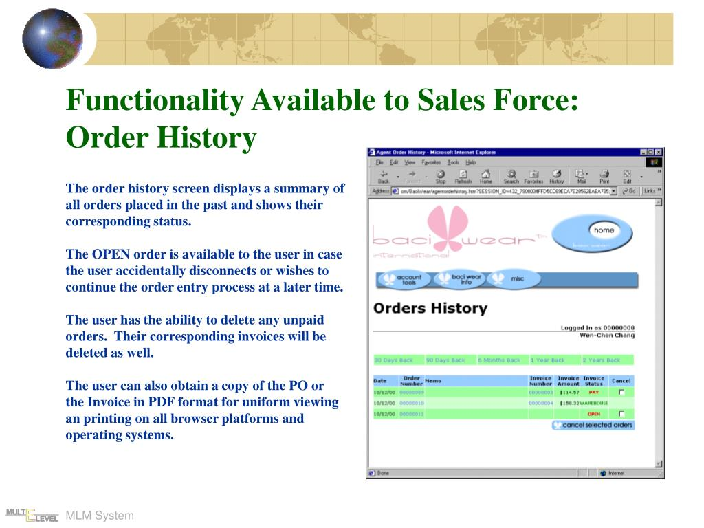 Functionality Available to Sales Force: Order History