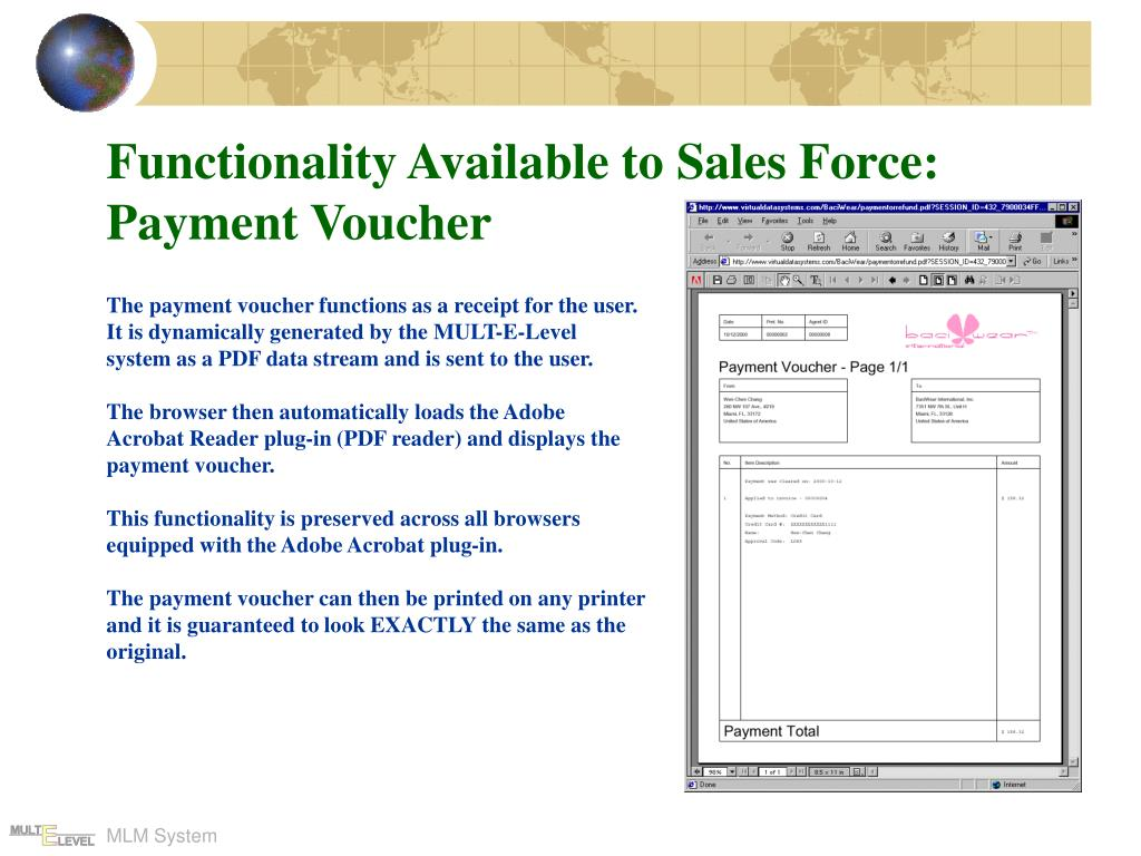 Functionality Available to Sales Force: Payment Voucher