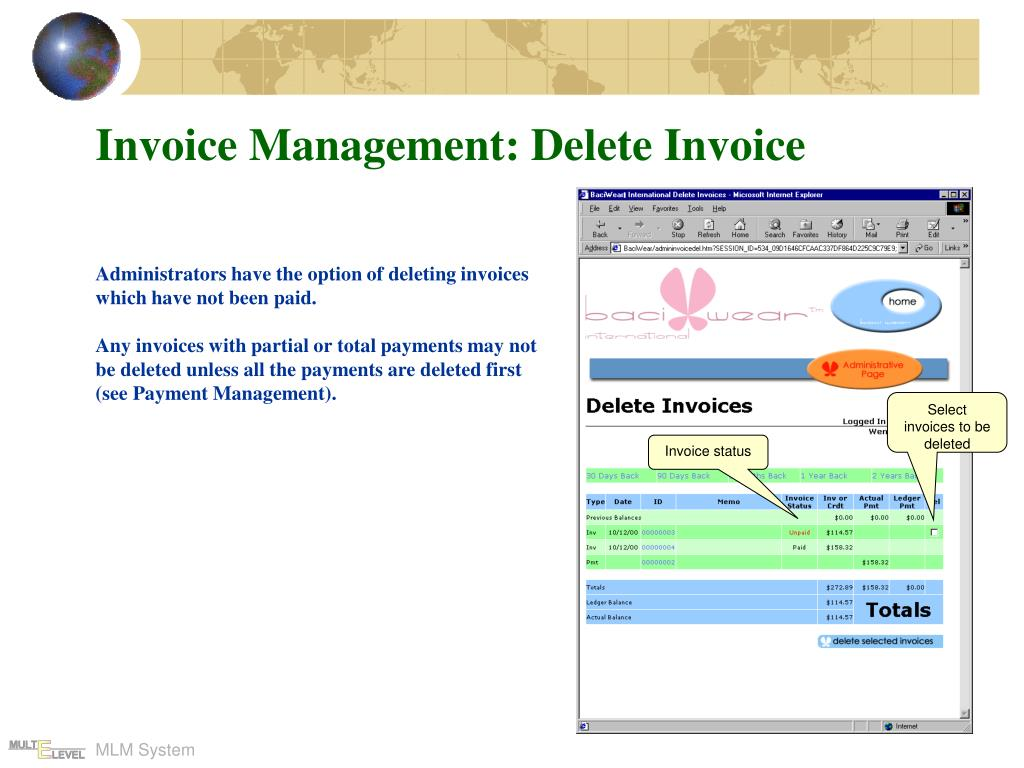 Invoice Management: Delete Invoice