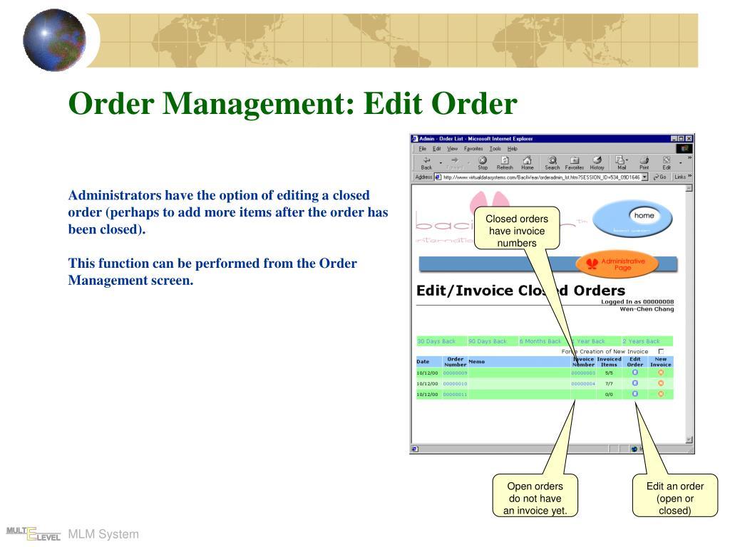 Order Management: Edit Order