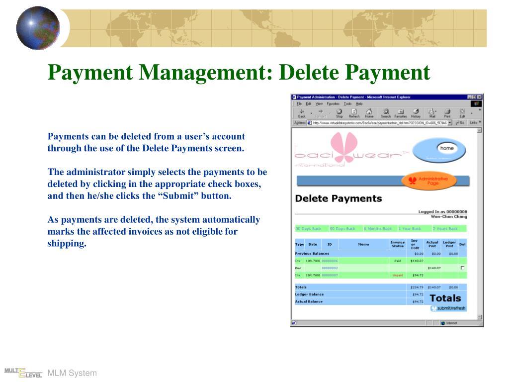 Payment Management: Delete Payment