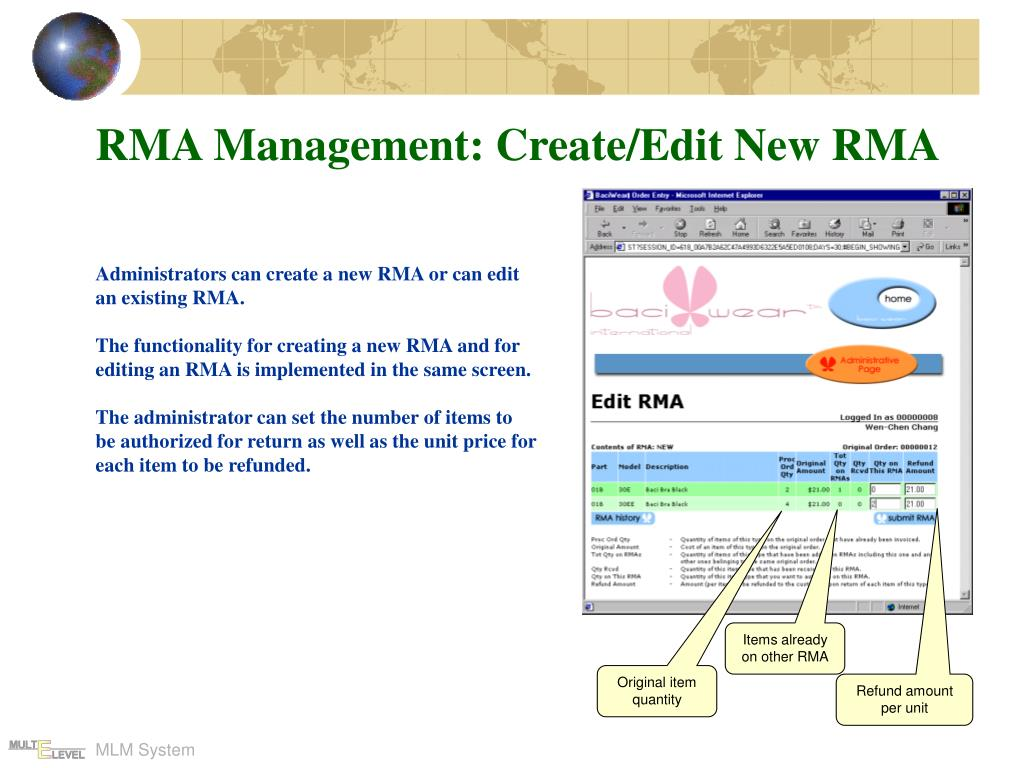 RMA Management: Create/Edit New RMA