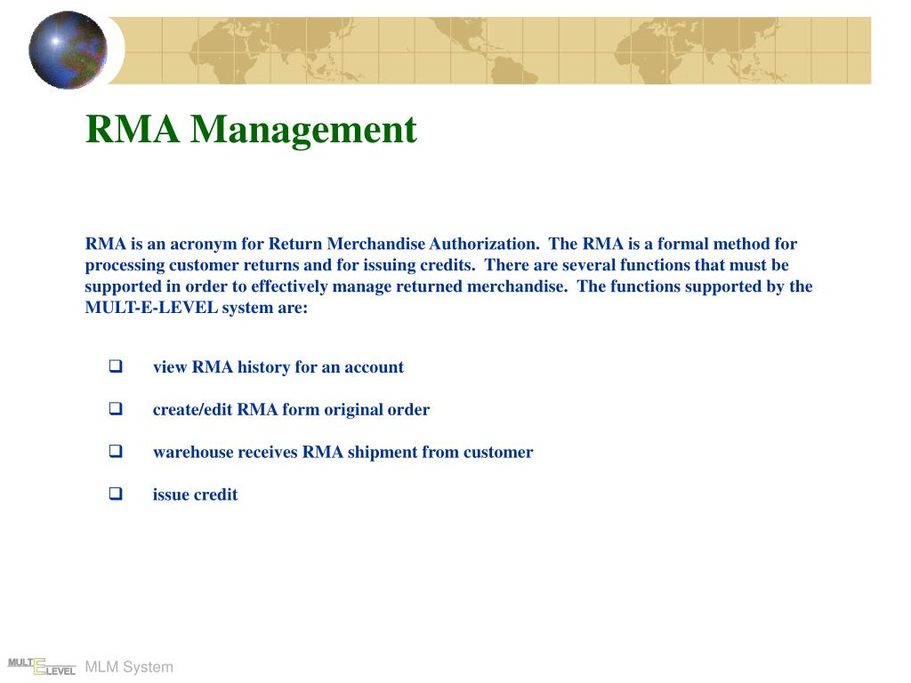 RMA Management