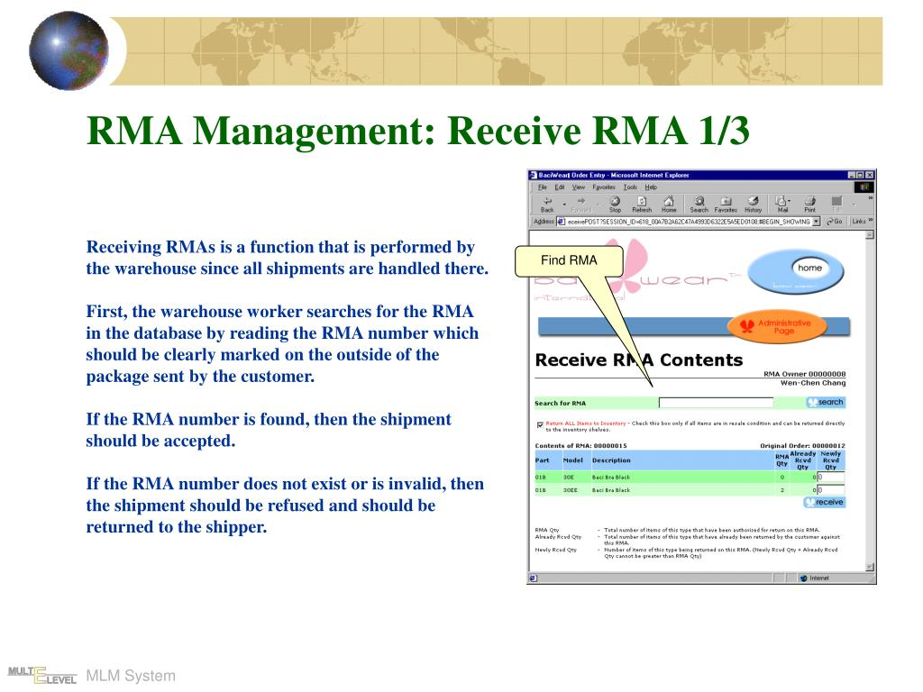 RMA Management: Receive RMA 1/3