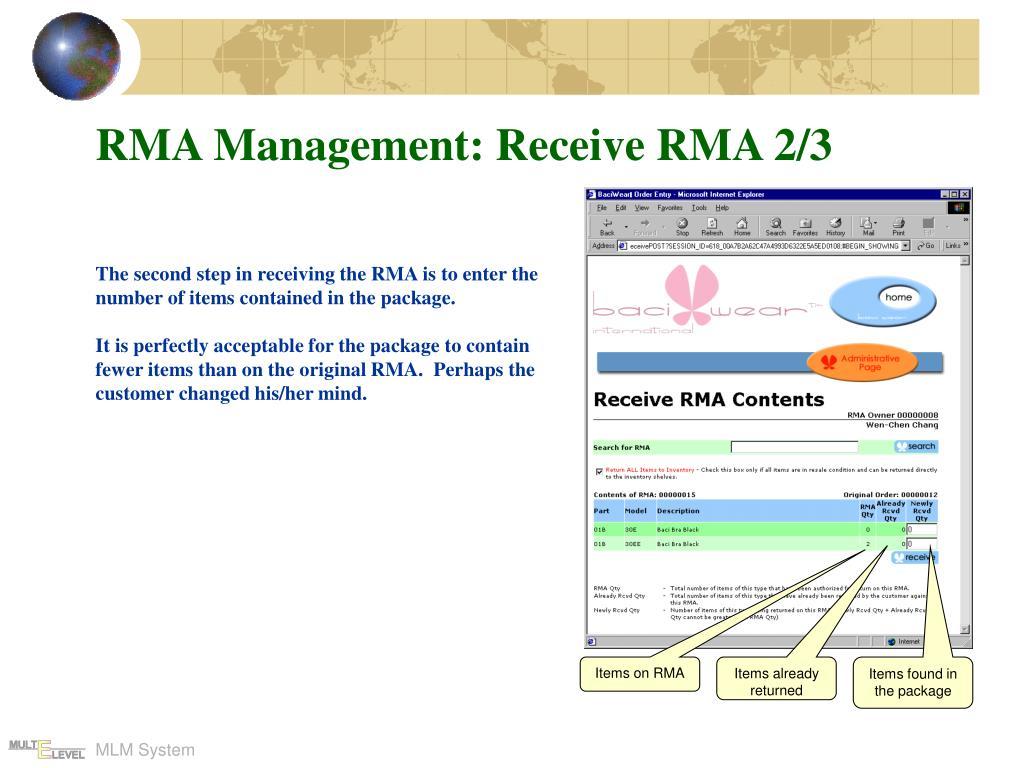 RMA Management: Receive RMA 2/3