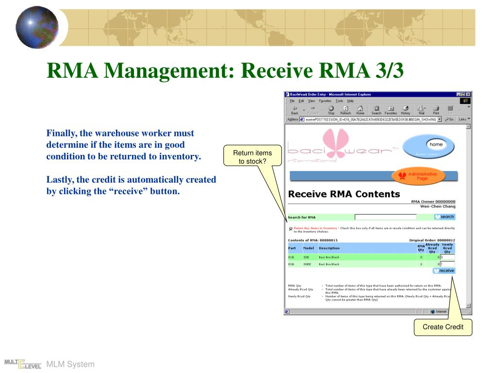 RMA Management: Receive RMA 3/3
