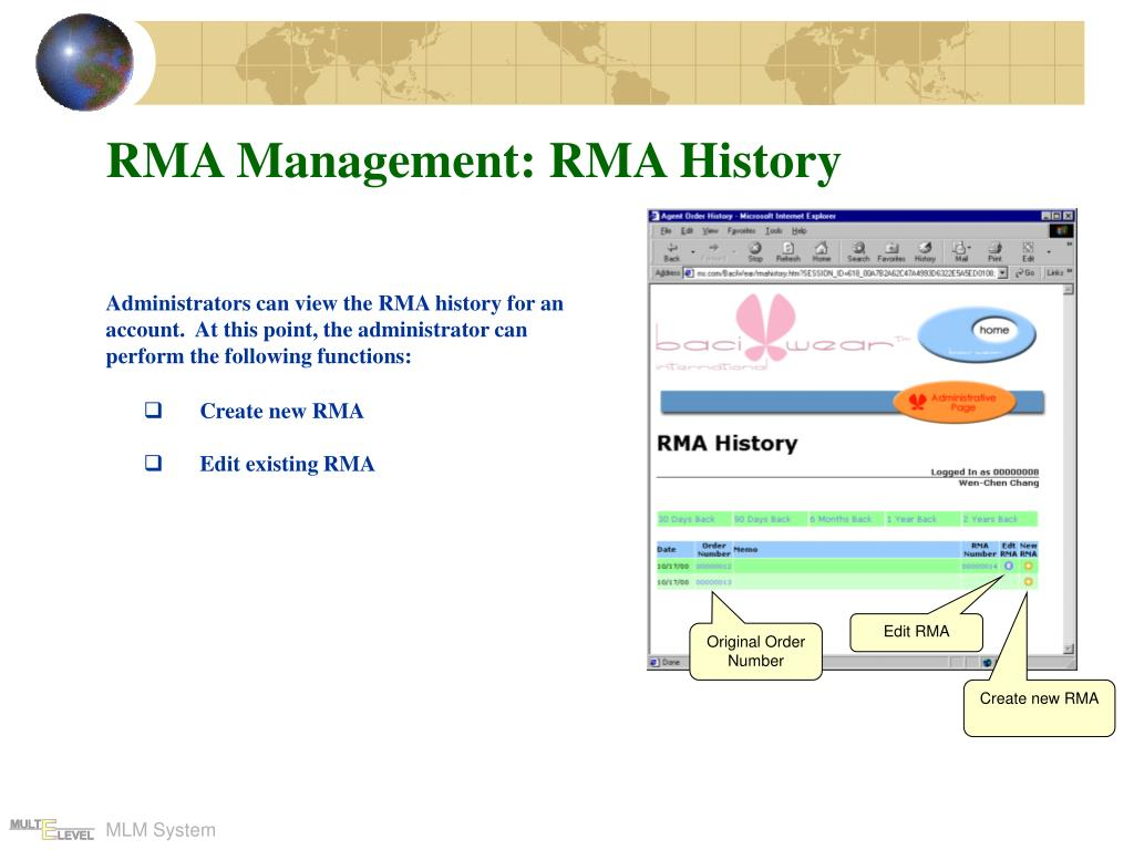 RMA Management: RMA History