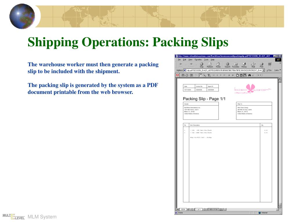 Shipping Operations: Packing Slips