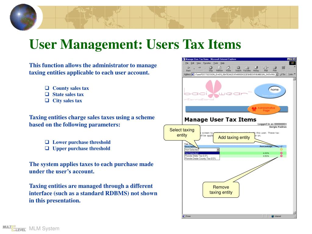 User Management: Users Tax Items