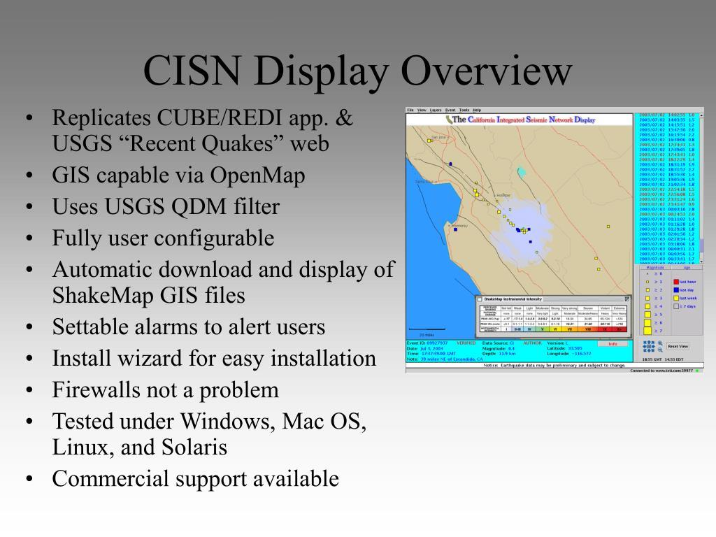 CISN Display Overview