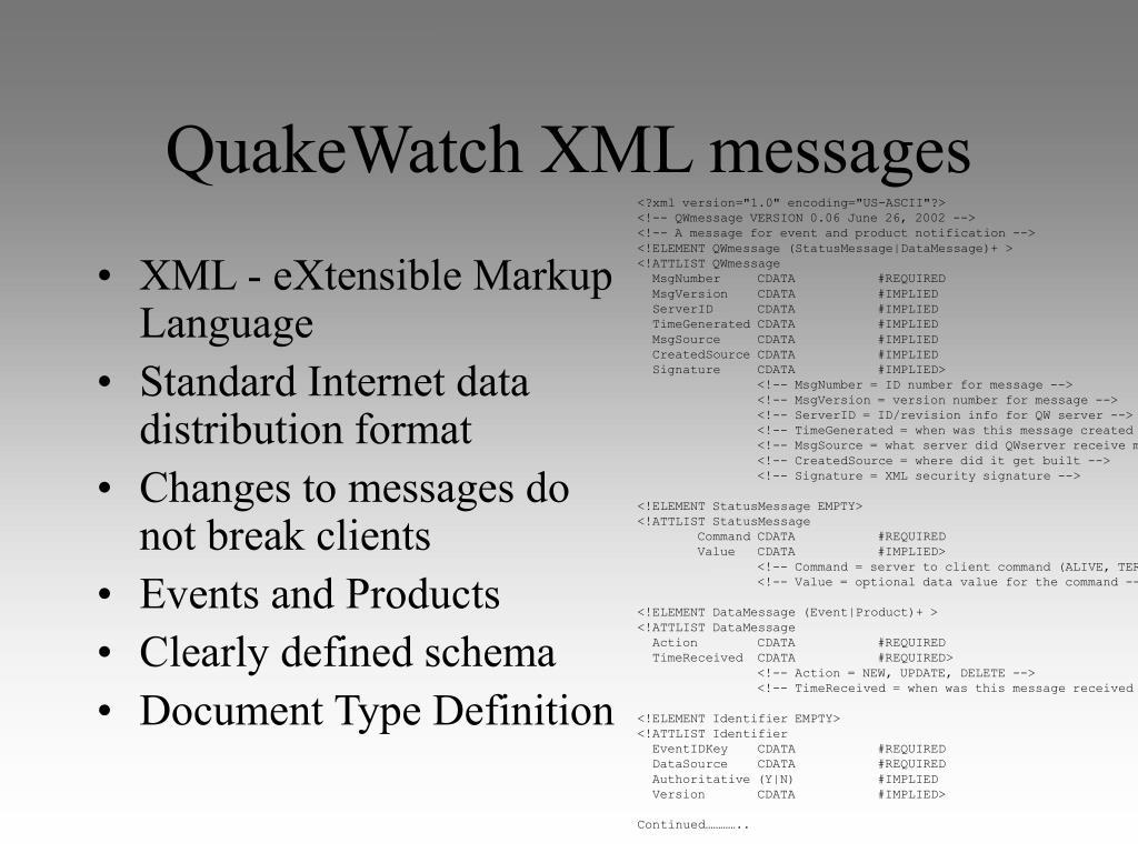 QuakeWatch XML messages