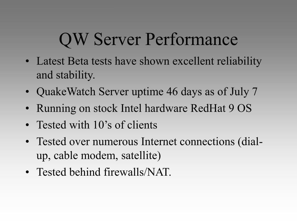 QW Server Performance