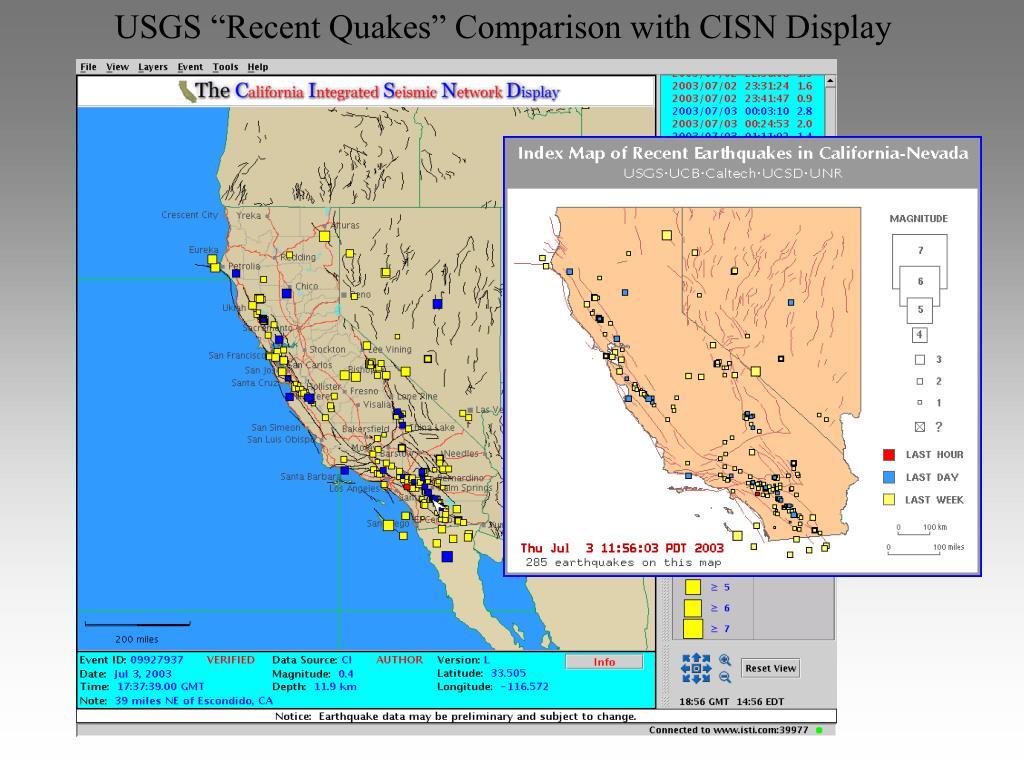 "USGS ""Recent Quakes"" Comparison with CISN Display"