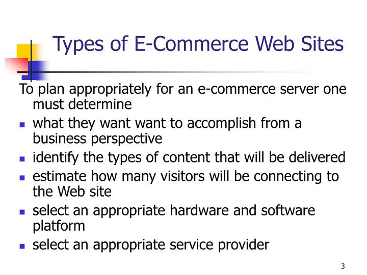 Types of e commerce web sites
