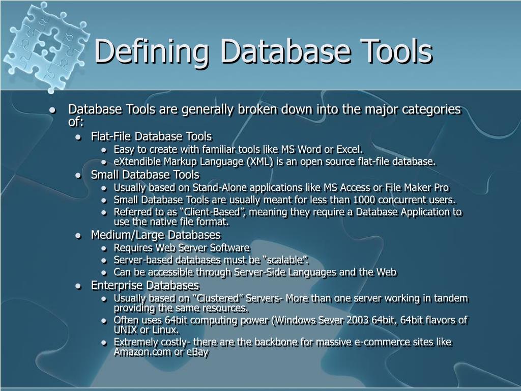 Defining Database Tools