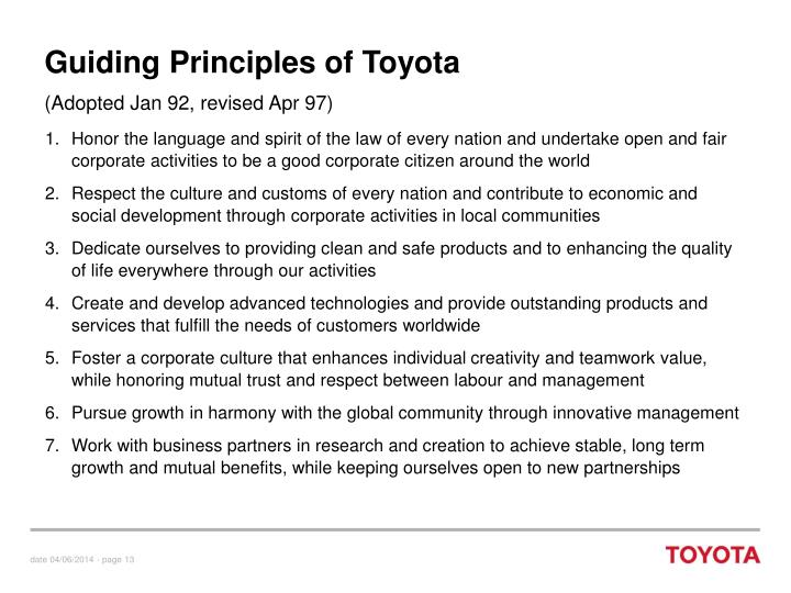 Guiding Principles of Toyota