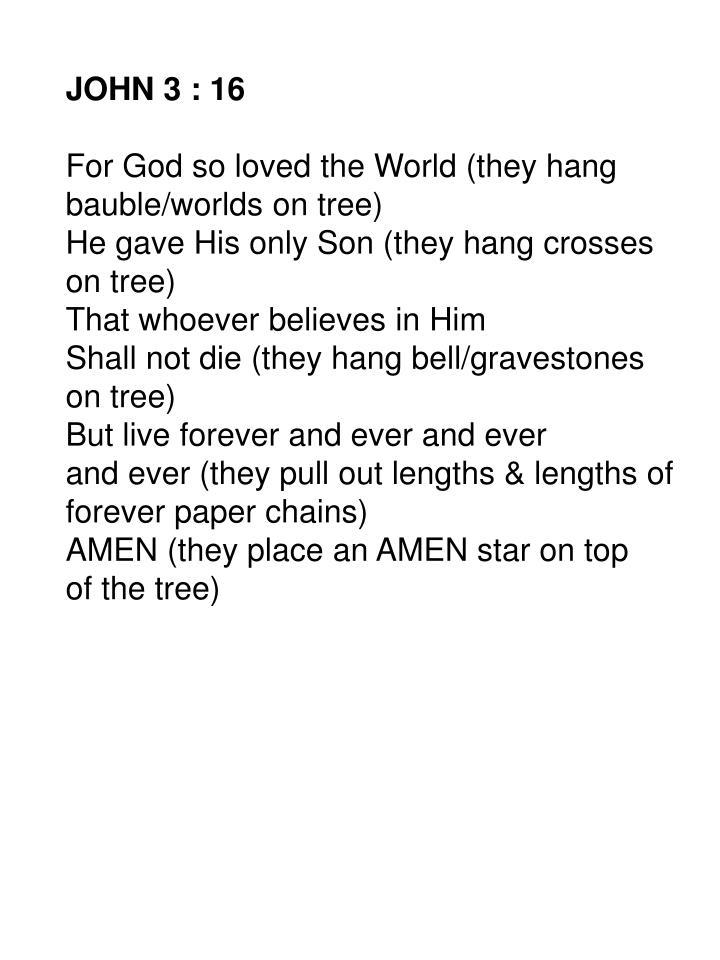 JOHN 3 : 16