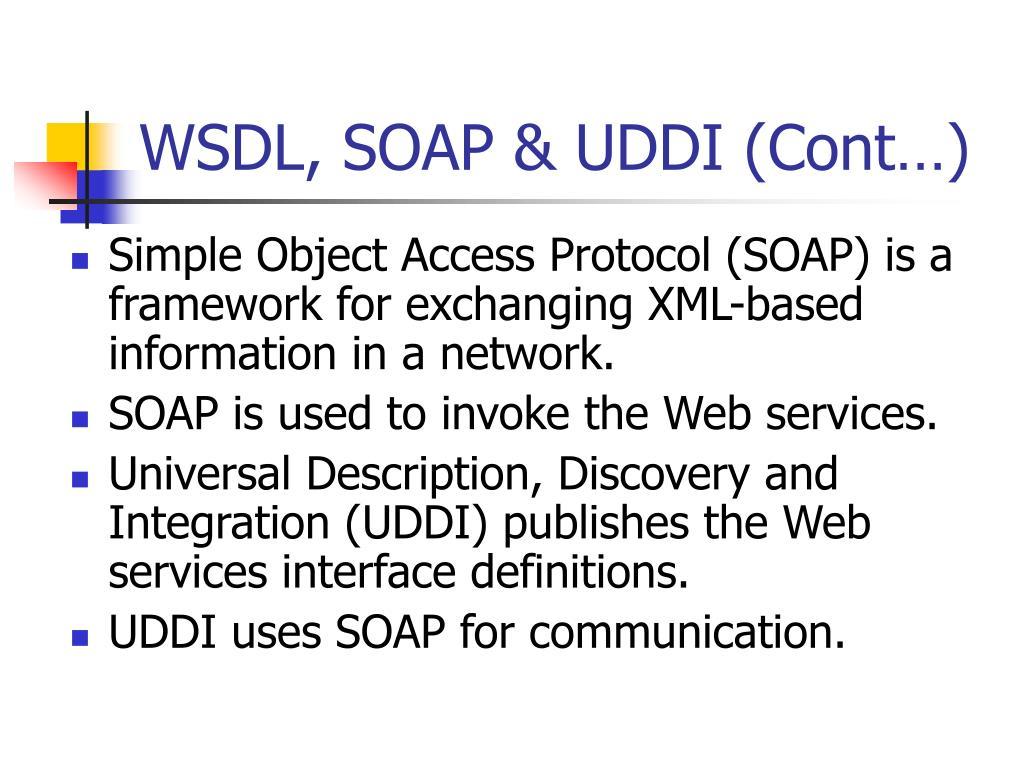 WSDL, SOAP & UDDI (Cont…)