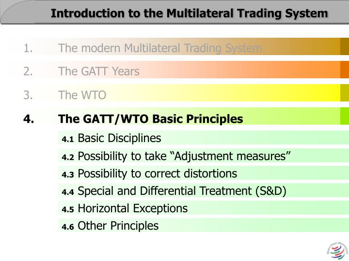 Five principles of multilateral trading system