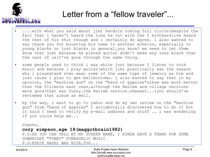 "Letter from a ""fellow traveler""..."
