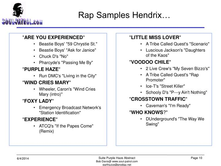Rap Samples Hendrix…