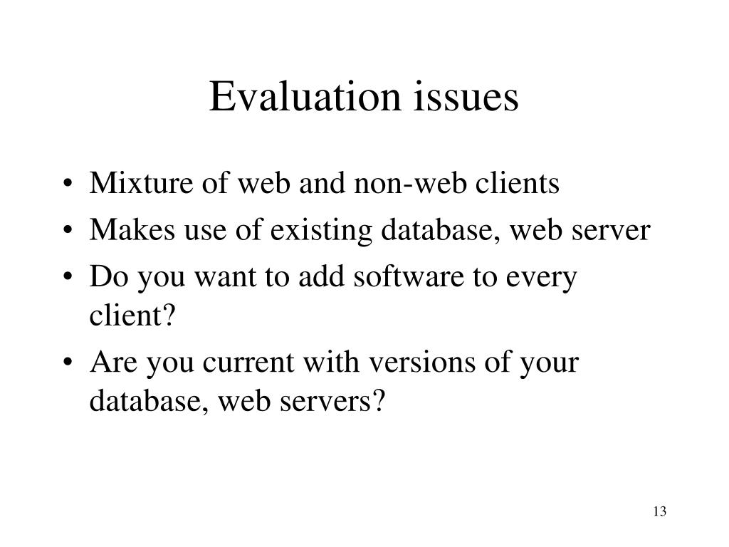 Evaluation issues