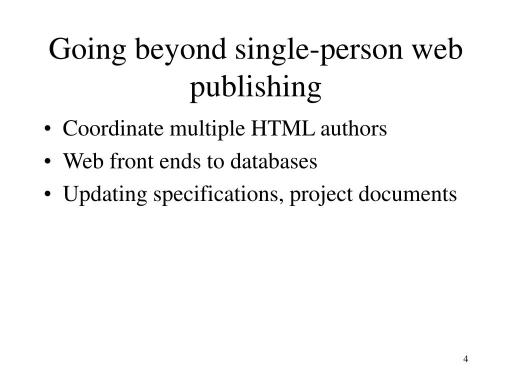Going beyond single-person web publishing