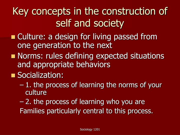 Key concepts in the construction of self and society