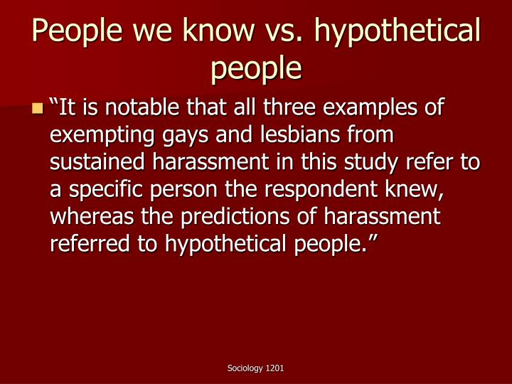 People we know vs. hypothetical people