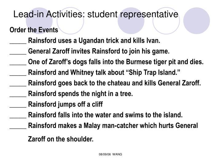 Lead-in Activities: student representative