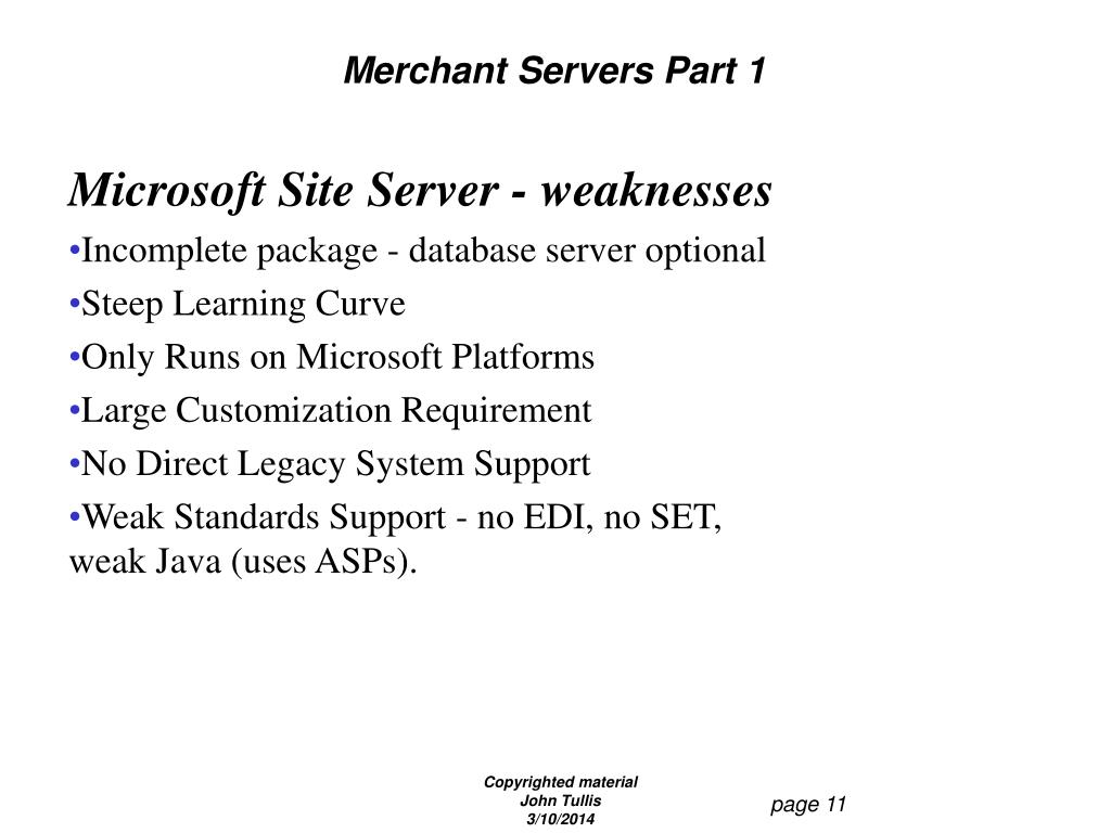 Merchant Servers Part 1