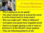a total meltdown financial markets