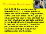 christians must learn