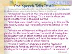 one speech tells it all