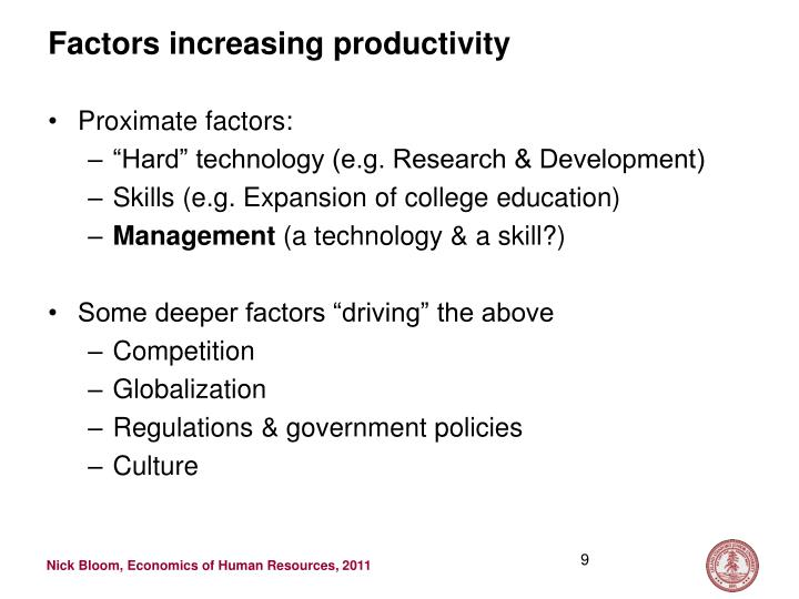 Factors increasing productivity