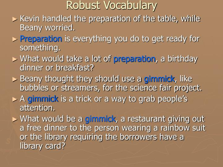Robust Vocabulary