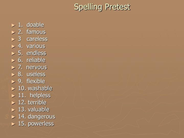 Spelling Pretest