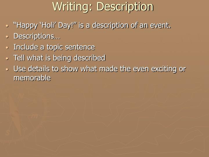 Writing: Description