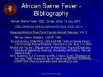 african swine fever bibliography